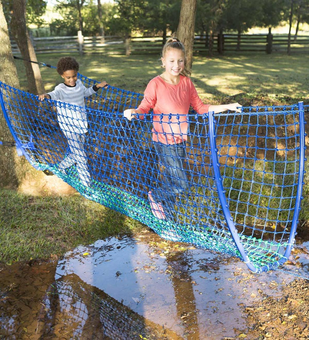 HearthSong® Balance Rope Bridge, Children's Backyard Playground Equipment, Approx. 8 ft Long by HearthSong