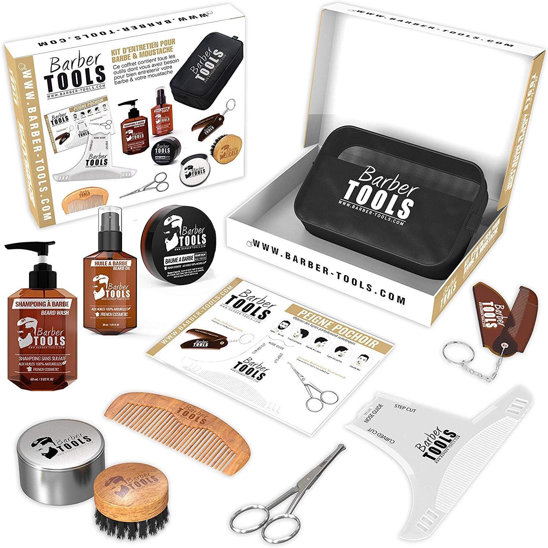 ✮ BARBER TOOLS ✮ Kit / Set / Estuche de arreglo y cuidado de la barba y afeitarse | Cosmético Made in French