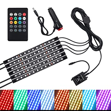36 Mood Footwell Dimmable Ambient... 12V LED Strip Lights Car Interior