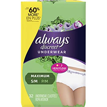 Always Discreet, Incontinence Underwear for Women, Maximum Classic Cut, Small/Medium, 32 Count
