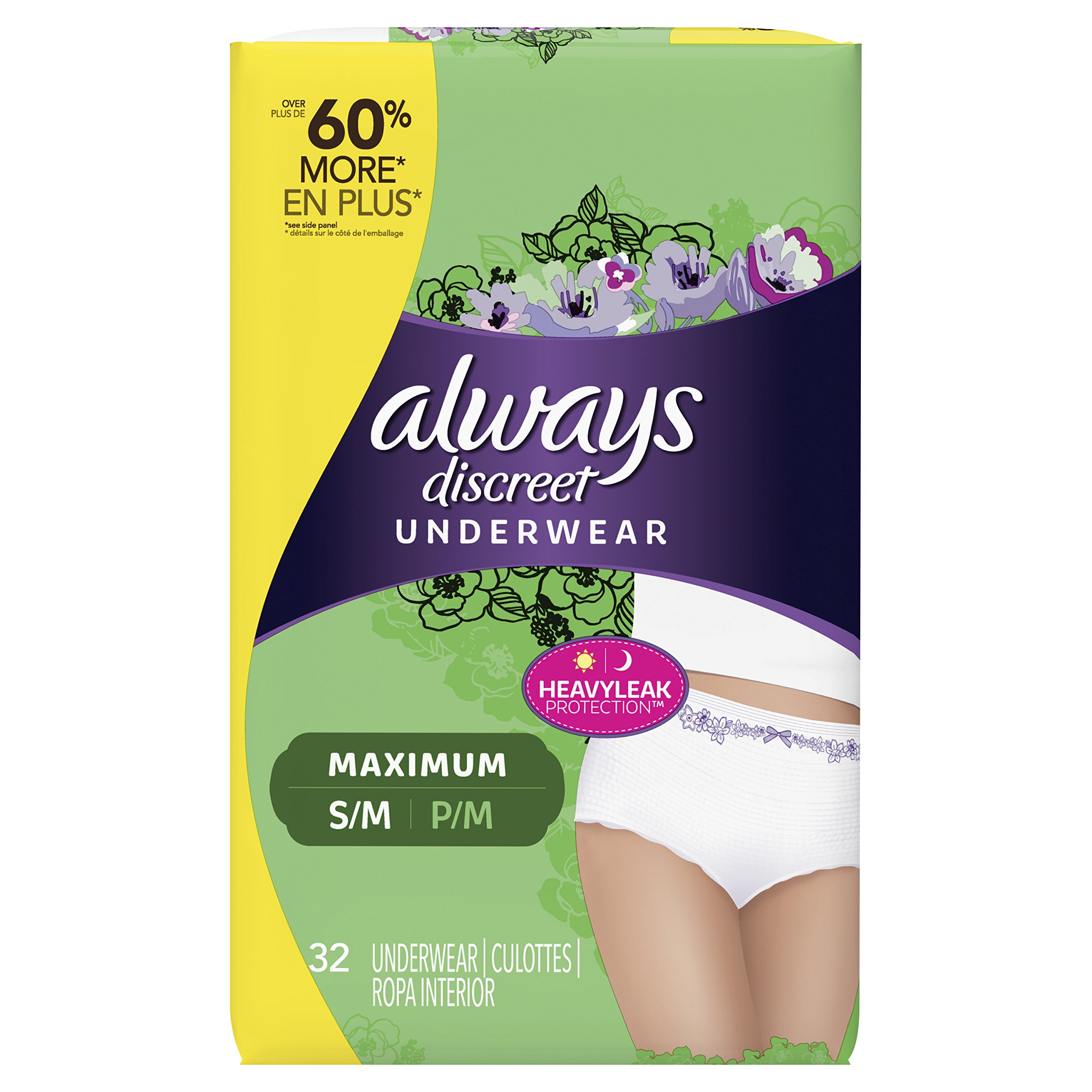 Always Discreet, Incontinence Underwear for Women, Maximum Classic Cut, Small/Medium,