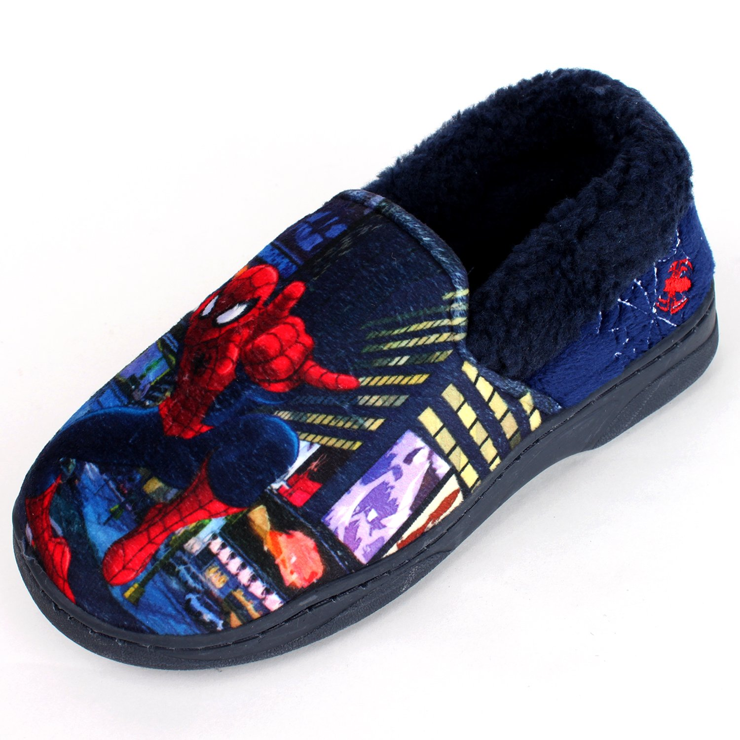 Joah Store Spider-Man Slippers for Boys Navy Red Warm Fur Clog Mule Indoor Shoes (3.5 M US Big Kid, Spider-Man) by Joah Store (Image #2)