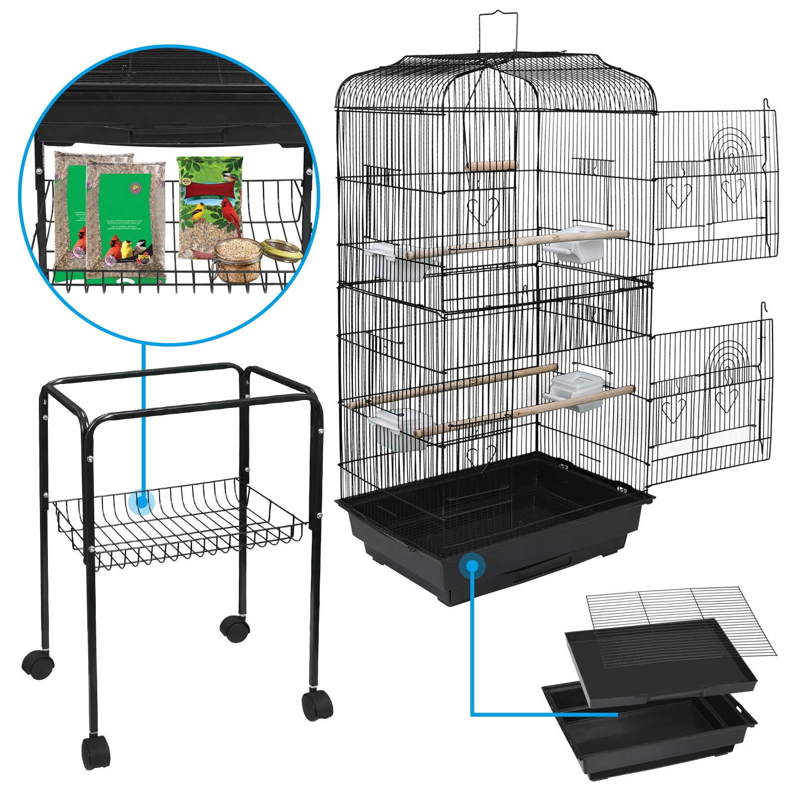 SUPER DEAL 60'' Bird Cage Large Wrought Iron Cage for Cockatiel Sun Conure Parakeet Finch Budgie Lovebird Canary Medium Pet House with 31'' Rolling Stand (60'') by SUPER DEAL