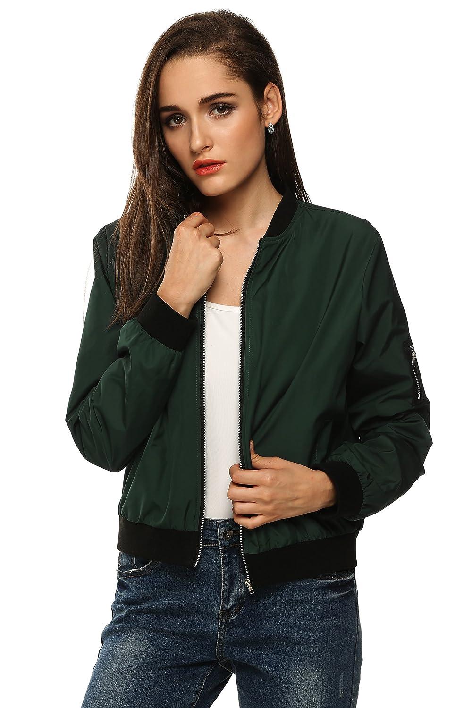 Black//Green//Red Zeagoo Womens Slim Bomber Jacket Mid-Season 2017