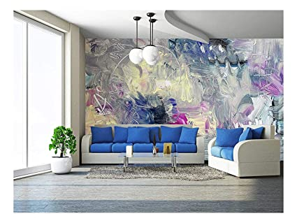 Wall26 Abstract Painting Mixed Media Grunge Removable Wall Mural Self Adhesive Large Wallpaper 100x144 Inches
