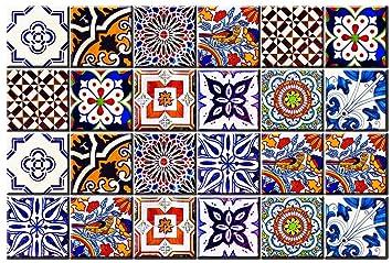 Set di 24 piastrelle adesive Talavera, per bagno e cucina ...