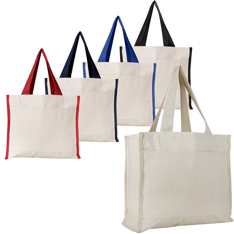 想像を超えての (6, Natural Natural) - Heavy Canvas Reusable Strong Tote Tote Bags with Front Pocket, Side and Bottom Gussets, Fancy Looking Plain Tote Bags, 100% Natural Canvas Strong Wholesale Tote Bags by BagzDepot (6, Natural) B06XDWYJPM Mixed-Assorted Mixed-Assorted|6, セキチュー:b2126088 --- diesel-motor.pl