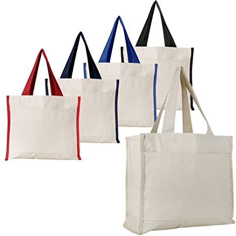 c55a67ccab34 Amazon.com  Heavy Canvas Reusable Tote Bags with Front Pocket