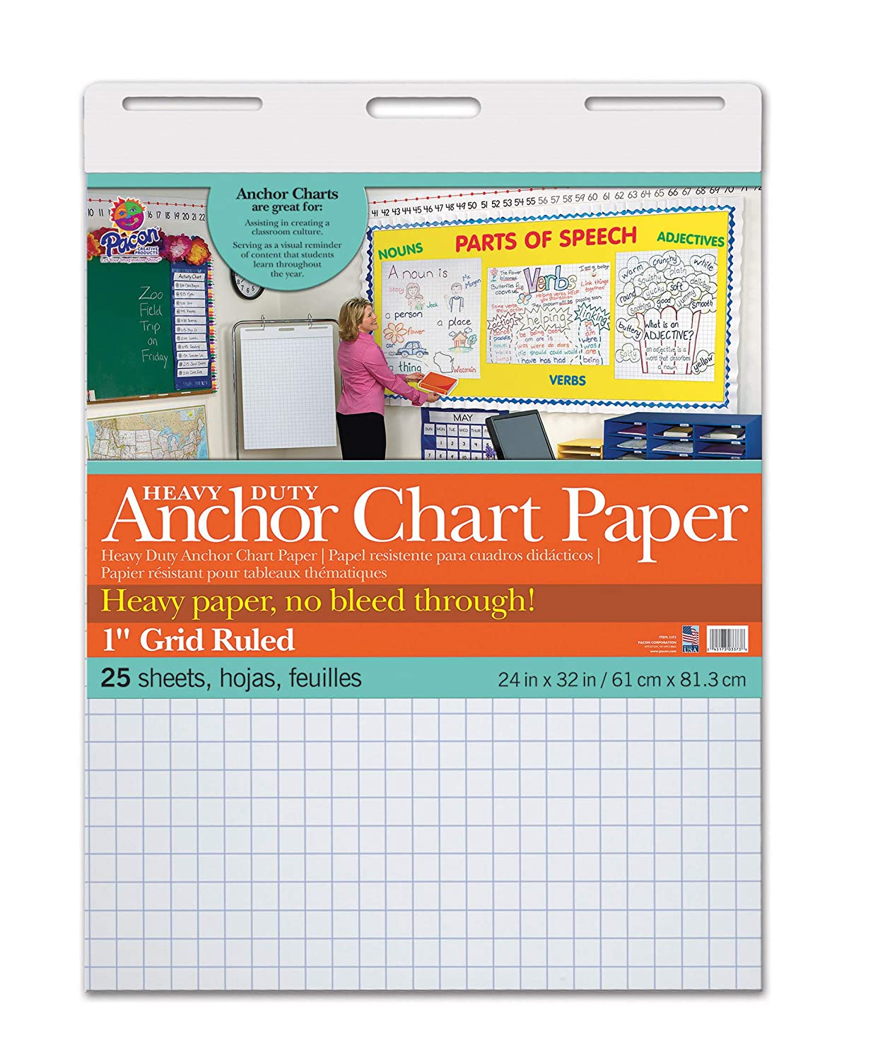"Pacon PAC3373 Heavy Duty Anchor Chart Paper, 1"" Grid Ruled, 24"" Width, 32"" Length, 25 Sheets"
