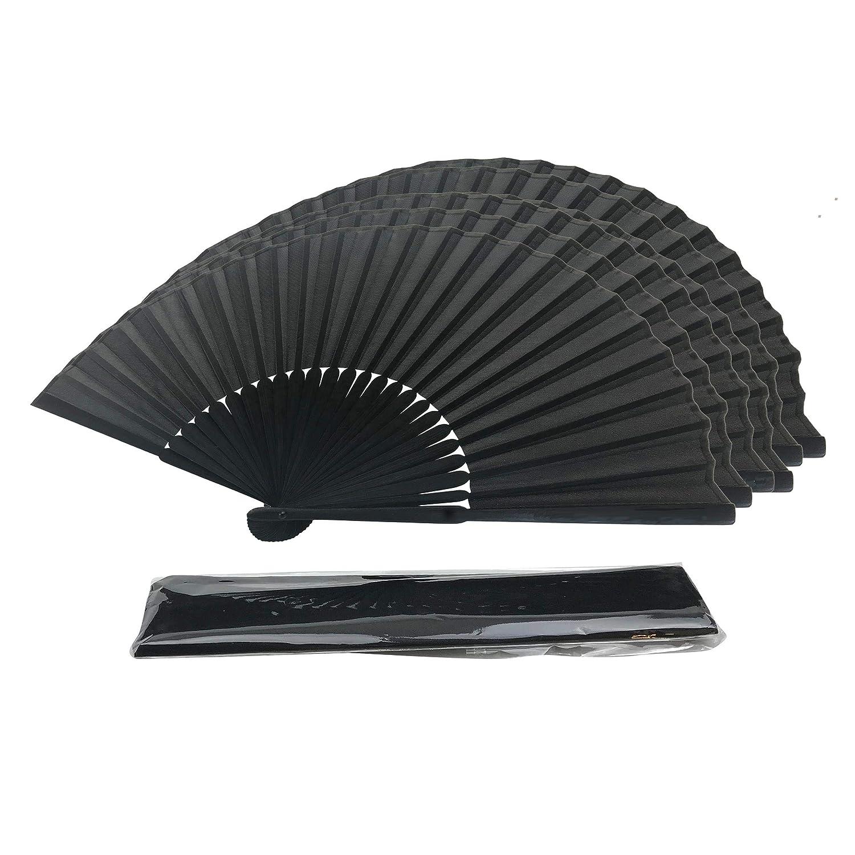 tessuto di seta nero bamb/ù costole mano Held ventilatore cinese con un sacchetto palmare matrimonio partito favore insegnanti regalo Di FANSOF.Fan mano pieghevole ventilatore