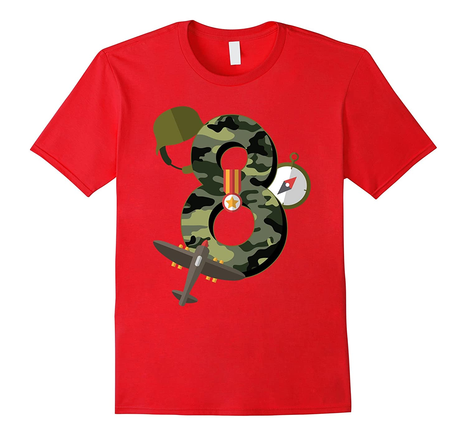 8th Birthday Camouflage Hero Army Soldier T-shirt-TH
