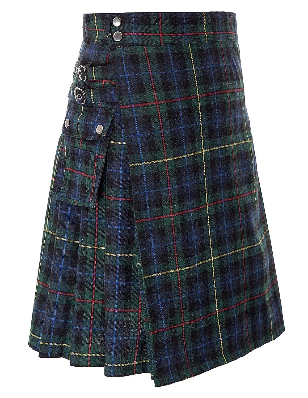 SCARLET DARKNESS Scottish Mens Kilt Traditioneller Highland Tartan Utility Kilt