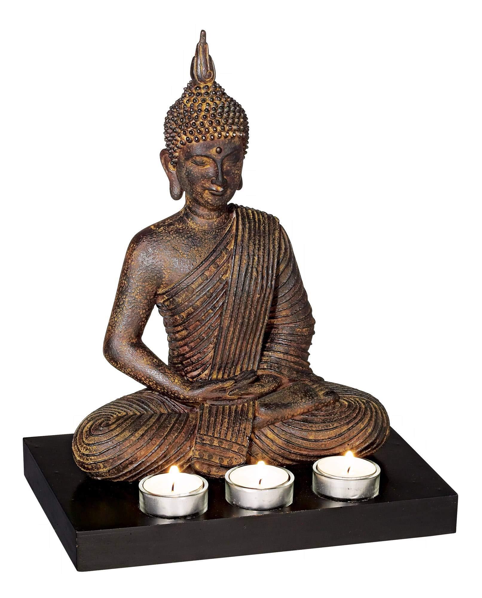 Kensington Hill Sitting Buddha 12 3/4'' High 3-Candle Tealight Holder