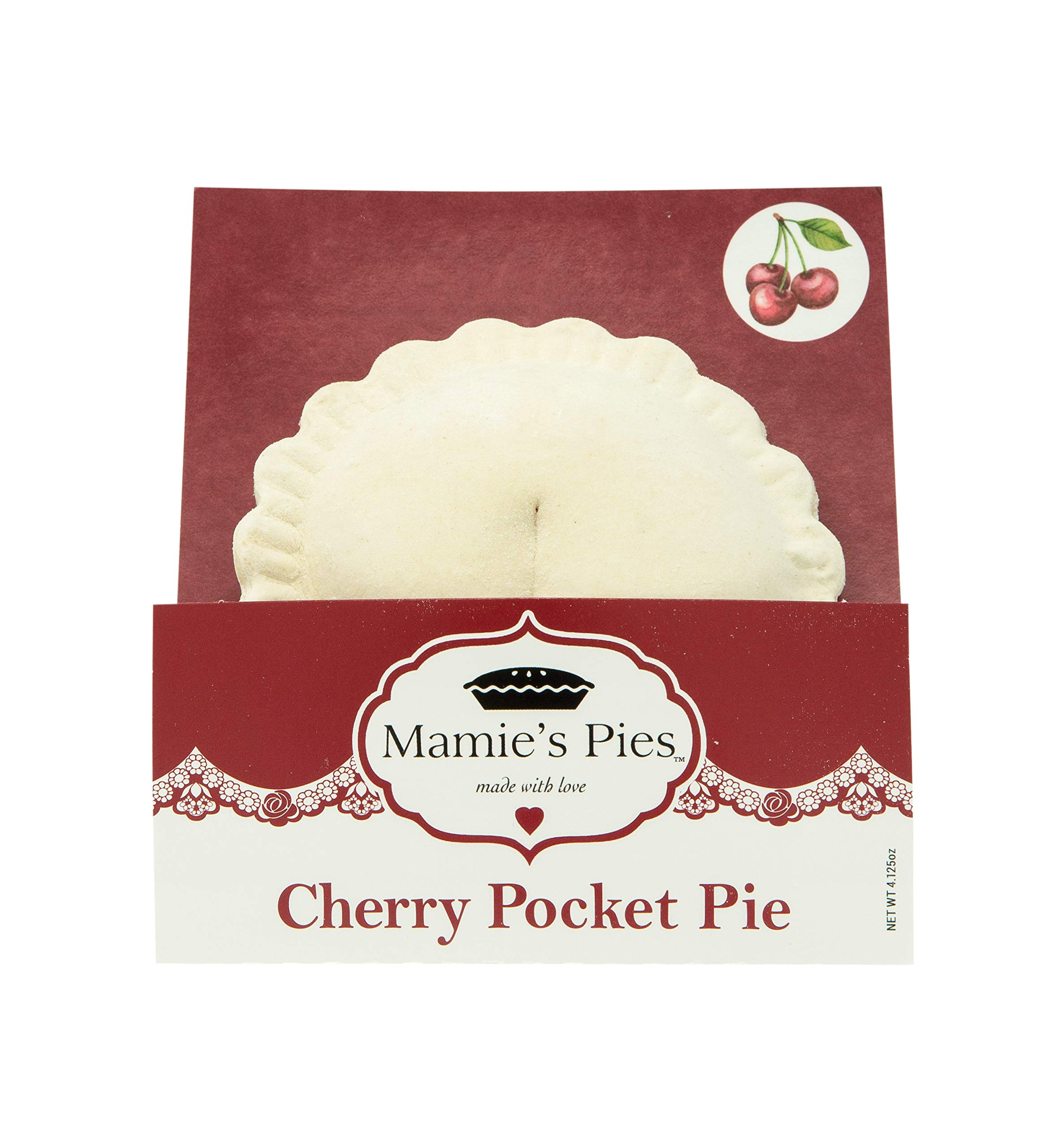 Mamie's 12 Pack Melt-in-Your-Mouth Single Serving Cherry Pies, Individually Packaged 4.5oz Pocket Pies, Preservative Free, Shipped Frozen and Ready to Bake, Made in USA. by Mamie's Pies (Image #1)