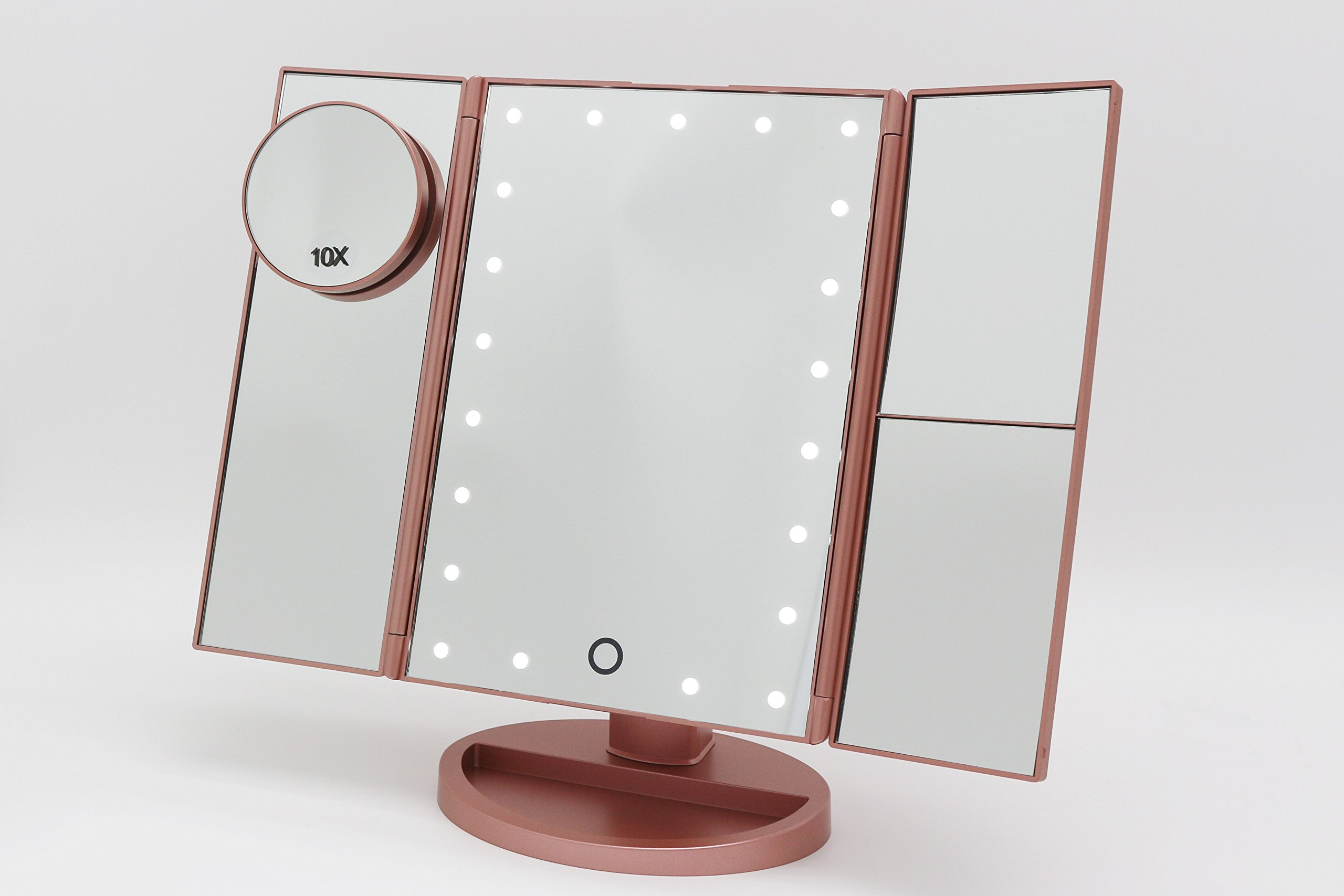 lmnop Trifold Vanity Makeup Mirror with Touch Screen Adjustable 21 LED Lights - Rose Gold