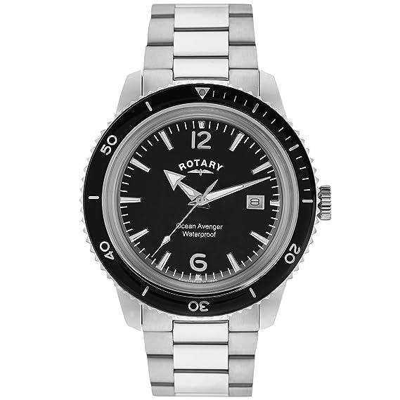 Rotary GB02694/04 - Reloj de Pulsera Hombre, Acero Inoxidable, Color Plateado: Amazon.es: Relojes