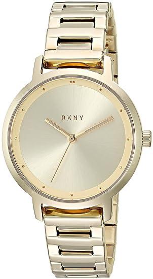 DKNY - Reloj casual de cuarzo para mujer, diseño moderno, color dorado (modelo