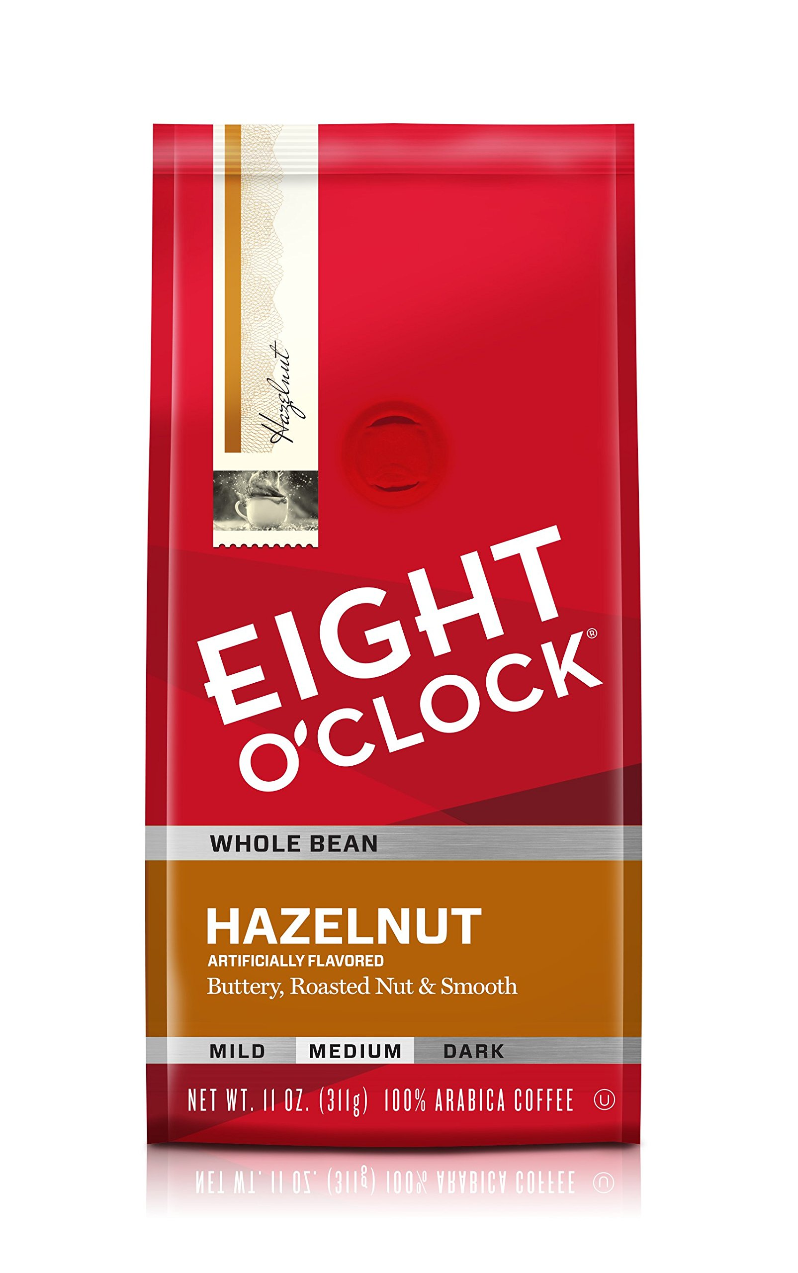 Eight O'Clock Whole Bean Coffee, Hazelnut, 11 Ounce (Pack of 6)