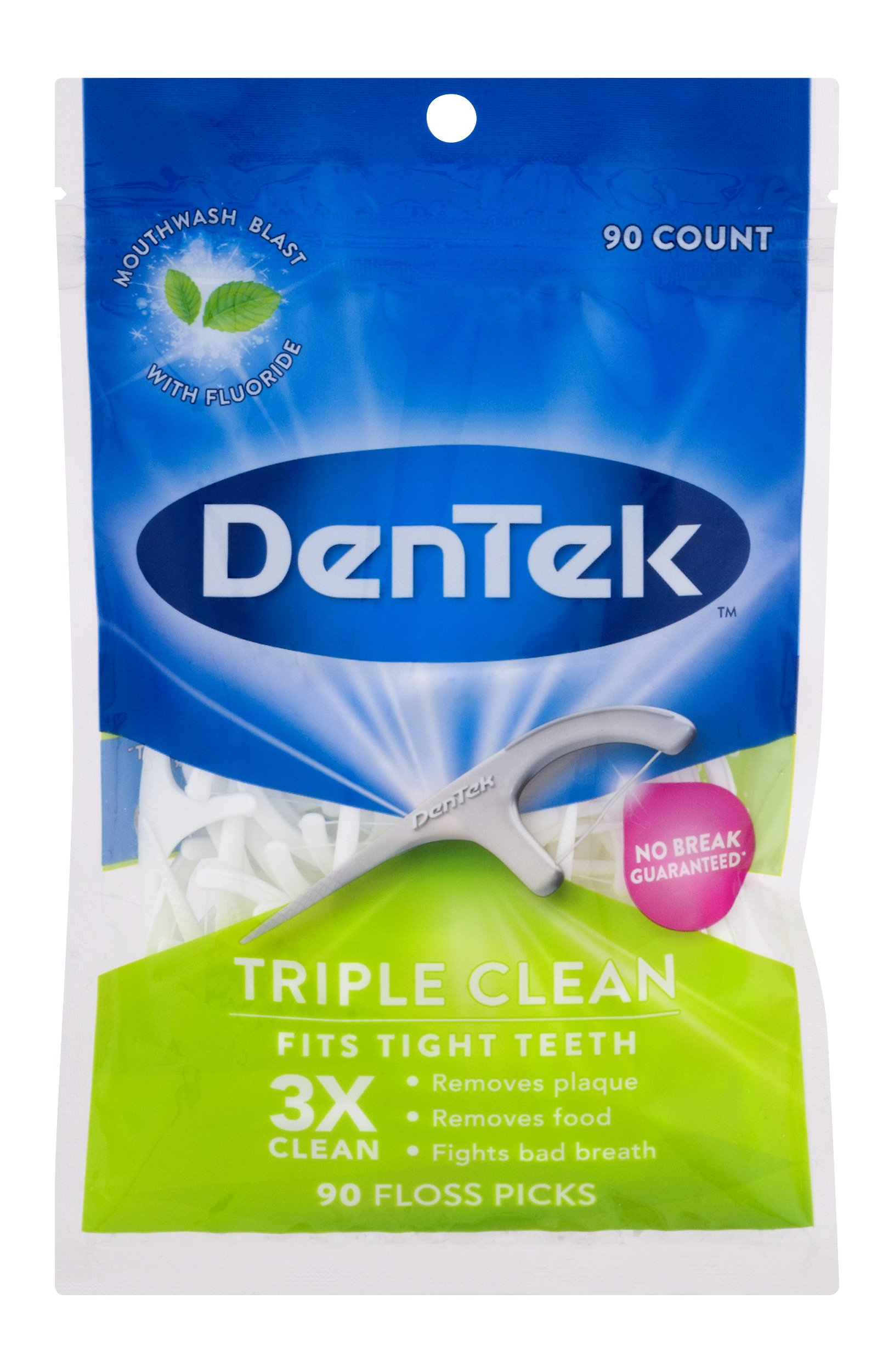 DenTek Extra Strong Triple Clean Floss Picks | Mouthwash Blast | 90 Count in Each Bag| Pack of 6| Packaging May Vary