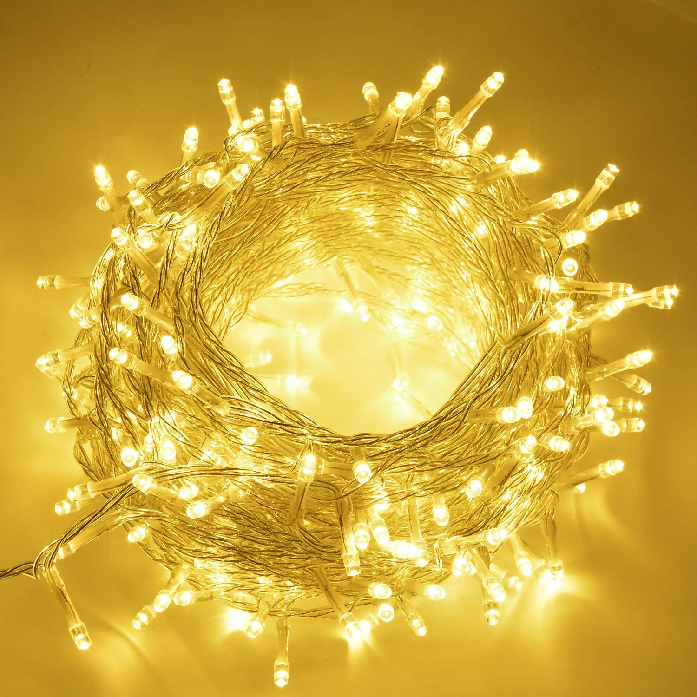 SOAIY Guirlande Lumineuse LED,Eclairage Int/érieur avec 200 LED//23m//8 Modes//Fonction de M/émoire//IP44,Lumi/ère D/écoration pour Sapin de No/ël//Anniversaire//Mariage//F/ête dans Chambre//Terrasse-Blanc Chaud