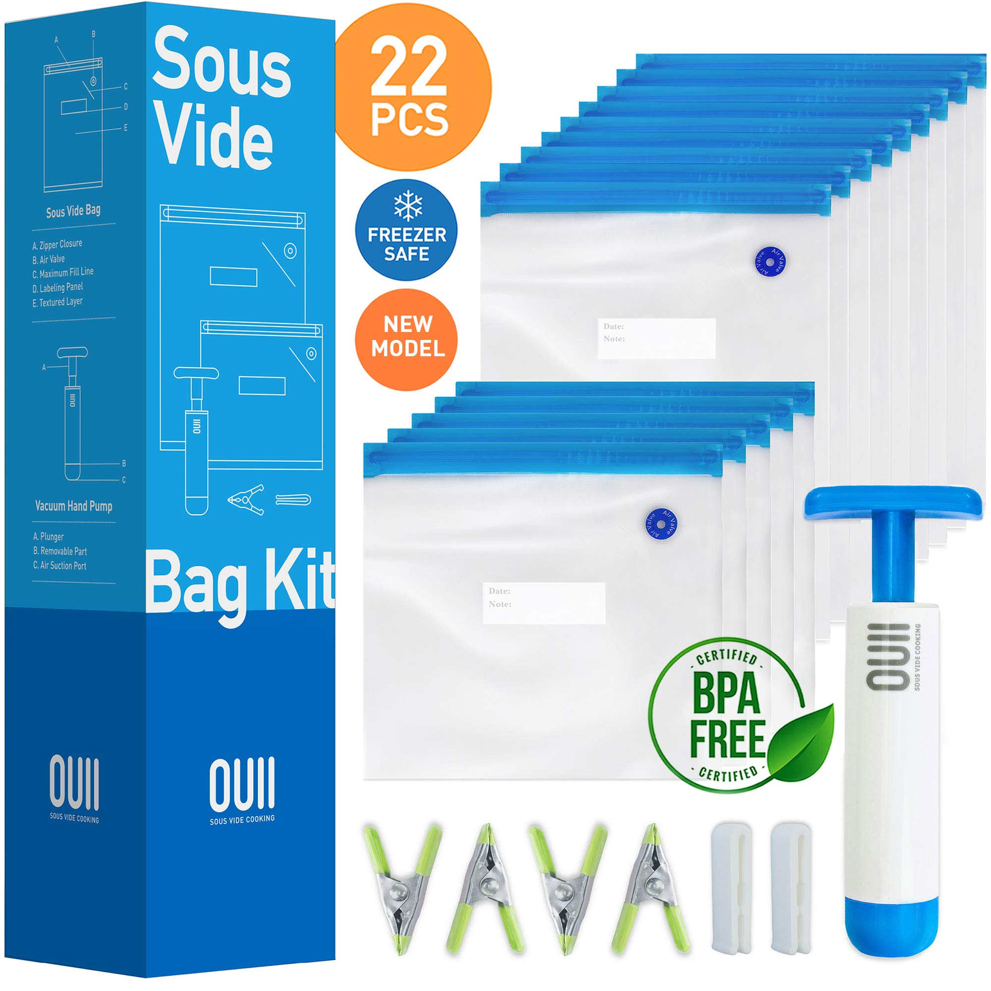 Sous Vide Bags for Joule and Anova | 15 Reusable BPA Free Food Vacuum Sealer Bags with Vacuum Hand Pump! Sous Vide Bag in Various Sizes! More Space Saving | Food Storage Freezer Safe | Fits Any Sous Vide Cooker by OUII