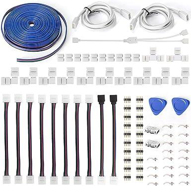 10× 4pin L-Form Schnellverbinder LED Eckverbinder Connector für RGB LED Streifen