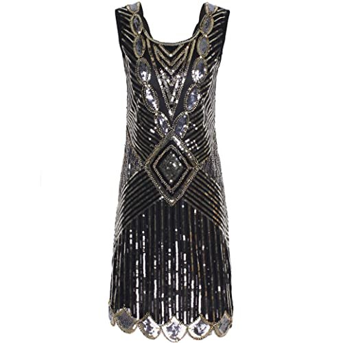 PrettyGuide Women 1920s Gatsby Sequin Art Deco Scalloped Hem Inspired Flapper Dress
