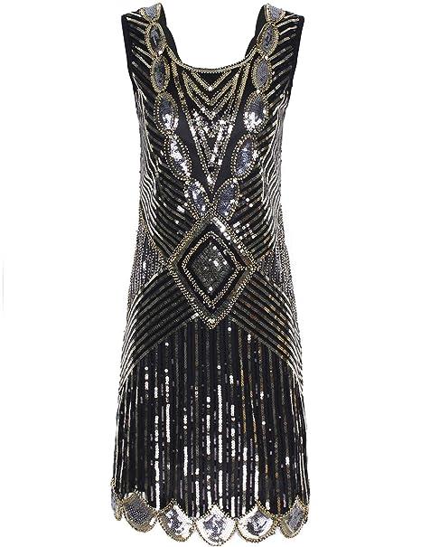 7a3b80685 PrettyGuide Mujeres 1920 Gatsby Lentejuelas Art Deco Inspirado Vestido De Fiesta  Flapper  Amazon.es  Ropa y accesorios