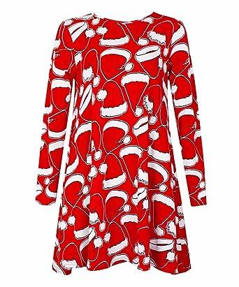6869eded6e6cf Womens Ladies Long Sleeve Penguin Santa Hat Snowman Printed Xmas Christmas  Swing Dress Plus Size Top