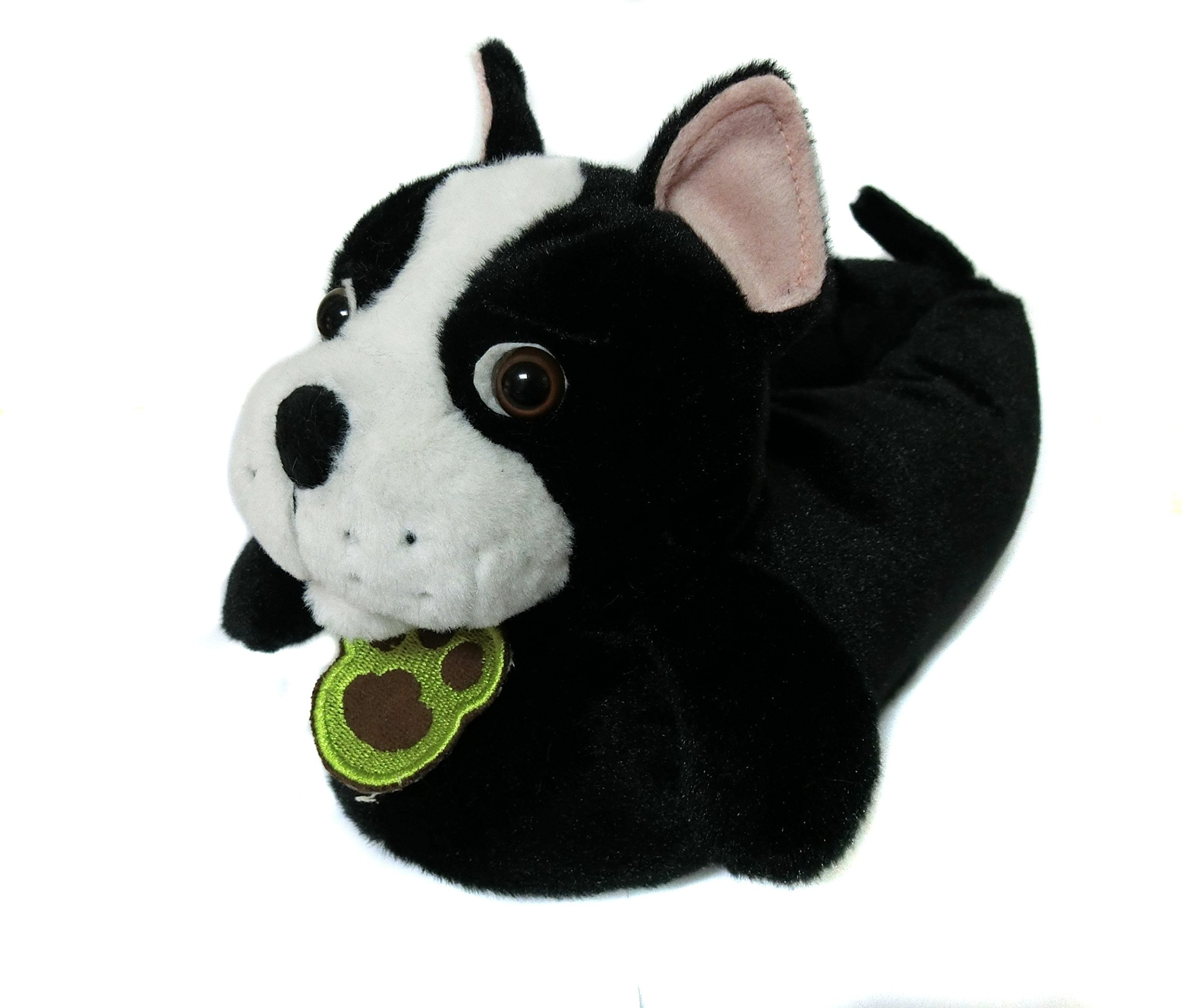 Friendly House Women's Fluffy Animal Slippers, Boston Terrier Dog (US lady size 7-9, Black)
