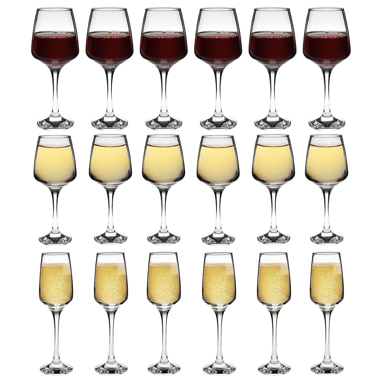 Argon Tableware 'Tallo' Red, White & Champagne Glasses - 18 Piece Set - 400ml, 295ml, 230ml