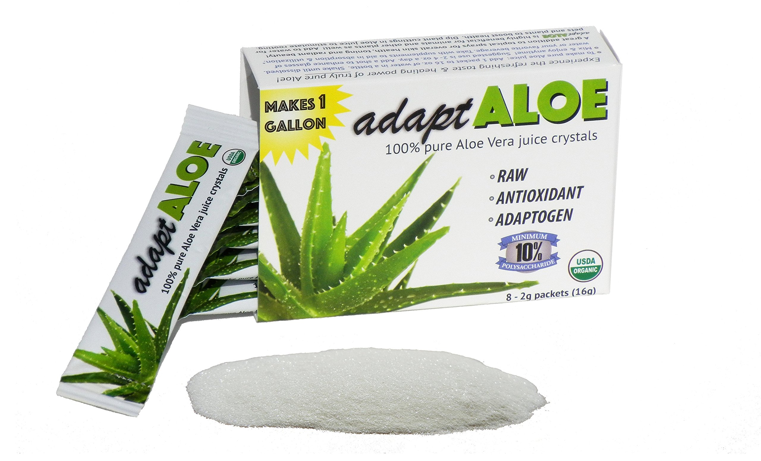 adaptALOE 100% Pure Aloe Vera Juice Crystals,Organic, Inner Leaf Fillet, gallon (6pk)