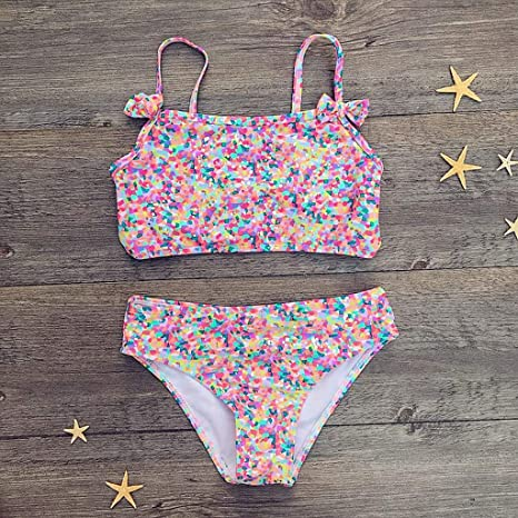 e919fa231699 HUXINFEI Bikini para niñas Marinero Floral Lindo Ropa de Playa de ...