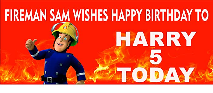 Fireman Sam Personalised Named Happy Birthday Banner Static Cling 3