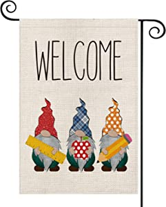 AVOIN Welcome Gnome Garden Flag Double Sided Buffalo Check Plaid, Polka Dot Apple Ruler Pencil Back to School First Day of School Yard Outdoor Decoration 12.5 x 18 Inch