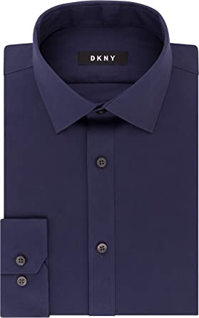 DKNY Dress Shirt Slim Fit Stretch Solid Camisa de Vestir para Hombre