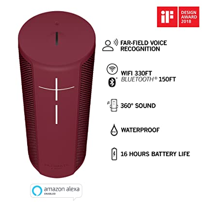 Ultimate Ears Megablast Bluetooth Speaker, Portable Wi-Fi/Loud Waterproof Wireless Speaker with Amazon Alexa Voice Control - Red