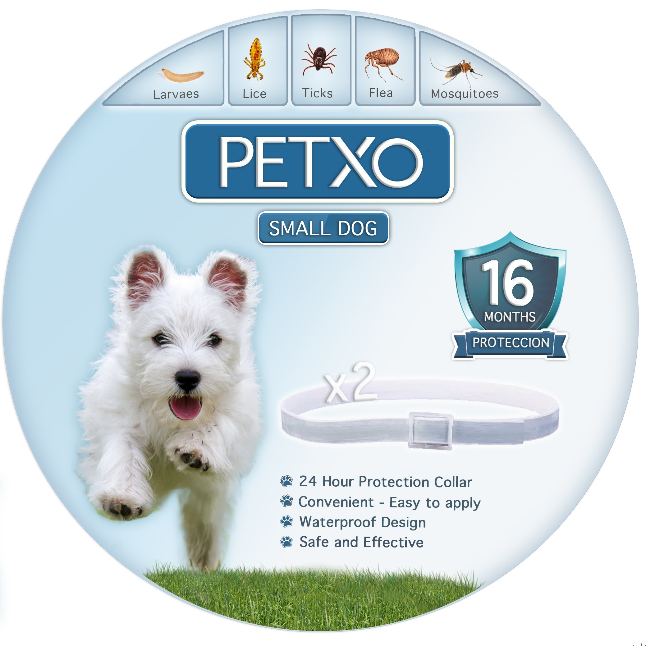 PETXO Dog Tick And Flea Collar. Fits Small to Medium Dogs. Pest Solution with Natural Oils.Waterproof and Adjustable 13Inches. Best Best Herbal Pest Prevention.