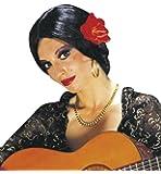 Video Delta - Parrucca 'Carmen' con Fiore, Nero/Rosso