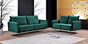 US Pride Furniture Sectional, 2PC, Green