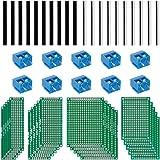 Anpro 50PCS Accessoires 20PCS PCB Panneau De Prototype Cartes De Circuits Plaques à Souder Double Faces 5 Tailles Différentes ,10pcs Bornier à Visser, 10pcs Barrettes Mle 10pcs Barrettes Femelle Pour DIY de Circuit Imprimé