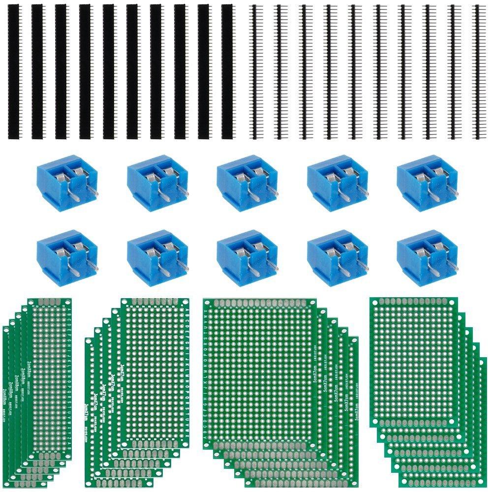 Anpro 50PCS Accessoires 20PCS PCB Panneau Prototype Cartes Circuits Plaques Souder Double Faces 5 Tailles 10pcs Bornier /à Visser 10pcs Barrettes Male 10pcs Barrettes Femelle Pour DIY Circuit Imprim/é