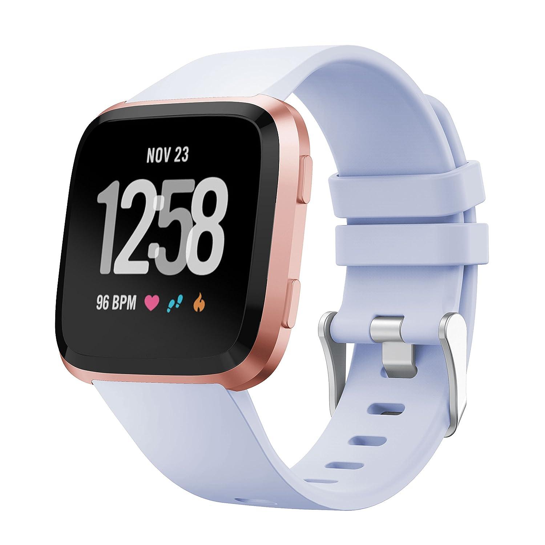 younsea Fitbit Versaシリコンバンド、修正デザイン交換用ストラップWristbands for Fitbit Versa Newest Edition Small  ヴィオラ Medium B07CBYXPLY