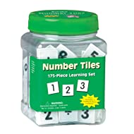 Eureka Tub of Numbers Math Tiles, Back to School Classroom Supplies Educational Toy, 1'' x 1'', 175 pc