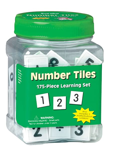 Eureka Tub of Number Tiles, 175 Tiles in 3 3/4 x 5 1/2 x 3 3/4 Tub