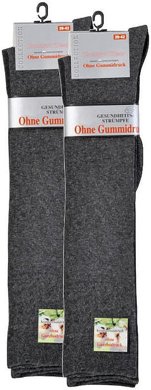 socksPur DAMEN /& HERREN Gesundheitsstr/ümpfe f/ür gute Durchblutung 2er PACK knielang extrabreiter Piqu/é-Komfortbund ohne Gummidruck
