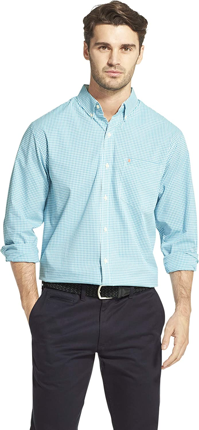 IZOD Mens Button Down Long Sleeve Stretch Performance Gingham Shirt