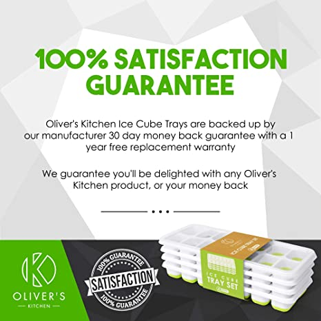 Olivers Kitchen - Juego de 4 moldes para cubitos de hielo ...