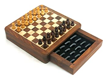 Ages Behind Wooden Chess with Magnetic Pieces Travel Game with Drawer 5-inch Travelling Games for Kids