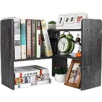 PAG Desktop Bookshelf Adjustable Countertop Bookcase Office Supplies Wood Desk Organizer Accessories Display Rack, Dark…